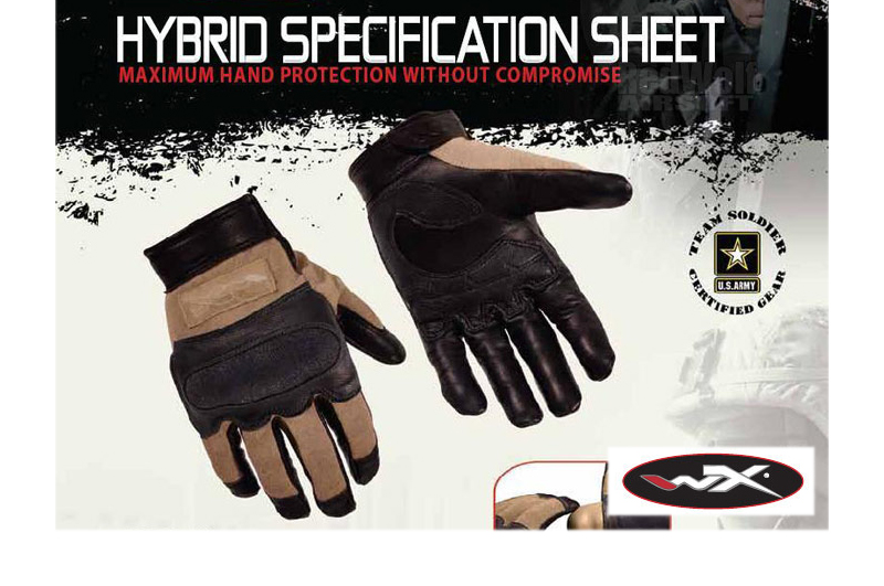 Wiley X Hybrid Glove (Large / Coyote Brown) <font color=red>(Export Only)</font> <font color=red>(Free Shipping)</font>