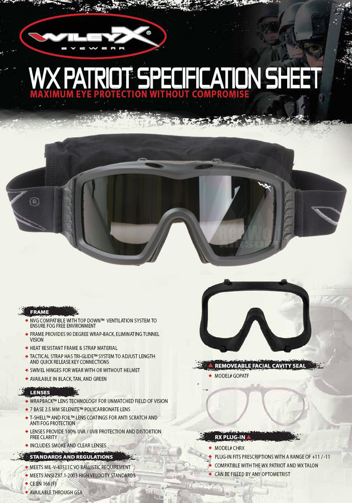Wiley X Patriot Goggle (Black with Smoke / Clear Lens)