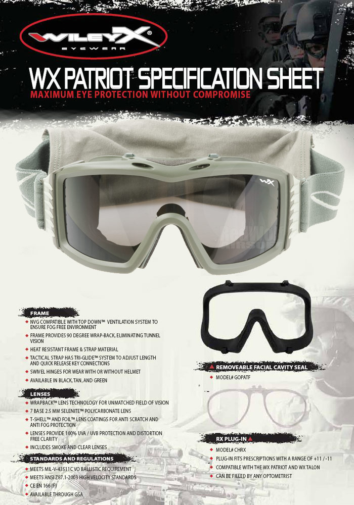 Wiley X Patriot Goggle (Green with Smoke / Clear Lens)