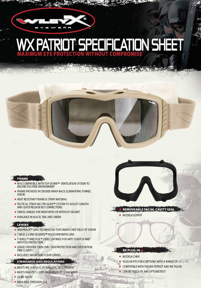 Wiley X Patriot Goggle (Tan with Smoke / Clear Lens)