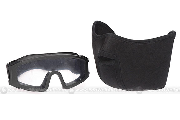 G&P Neoprene Mask with OEF Series USMC Goggle (3mm PC Glasses, Black)