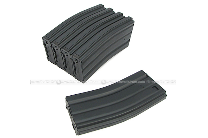 King Arms 300rds Mag for Marui M16 Box Set 5pcs (Metal, Black)