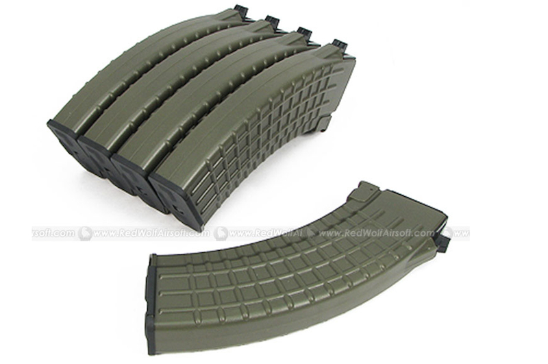 King Arms 70rds Waffle Mag for Marui AK Series Box Set 5pcs (OD)