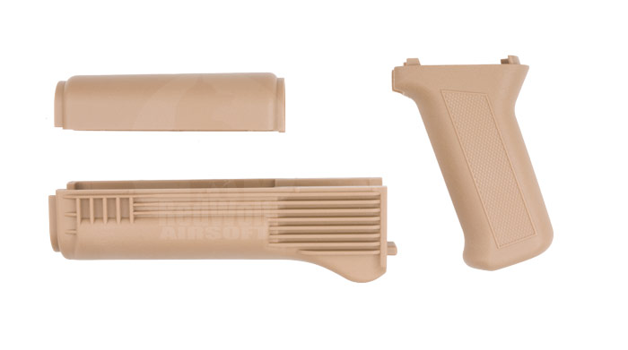 King Arms Tactical Handguard Grip Set for AK74M Marui AEGs (Tan)
