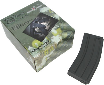 King Arms M16 120rds Mag Box Set (5pcs) for Marui M16 (Black)