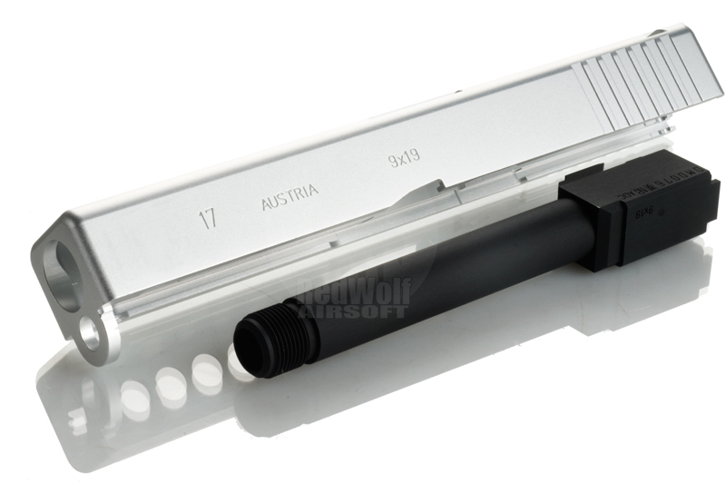 PGC Metal Slide with Screw Barrel for Marui Model 17 Custom (Silver)