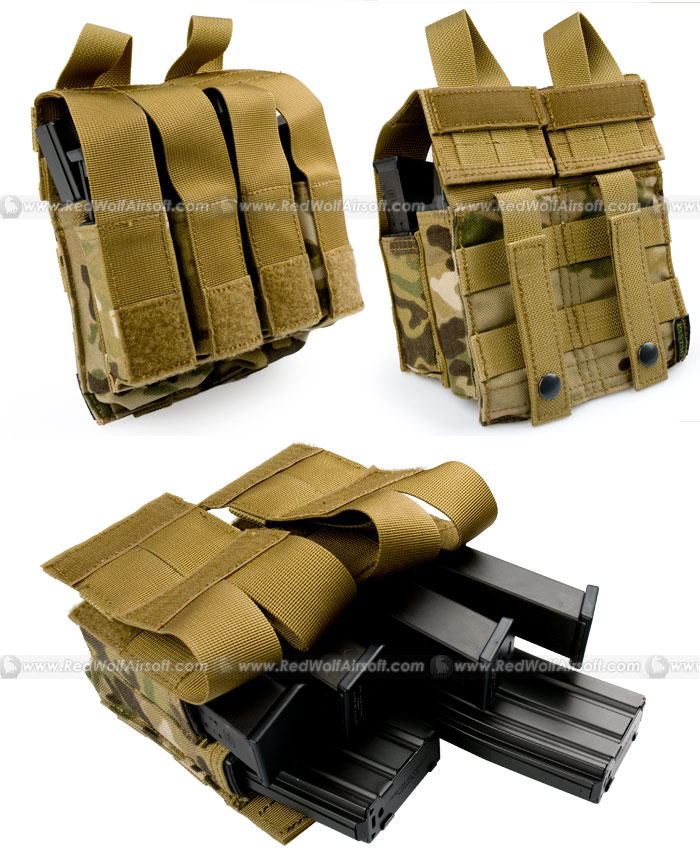 PANTAC Molle M16 Double Mag & 9MM 4-Mag Pouch with Hard Insert (Crye Precision Multicam / Cordura)
