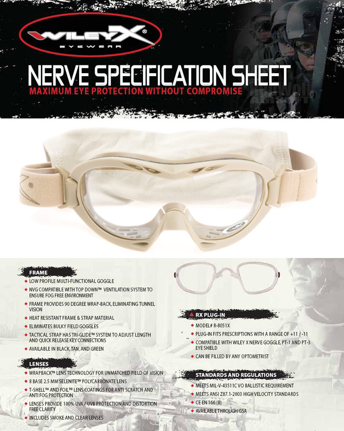 Wiley X Nerve Goggle (Tan with Smoke / Clear Lens)