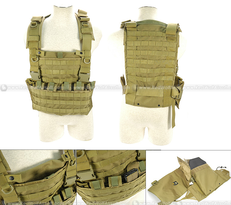 Pantac WSH* Chest Rig (Khaki/CORDURA)