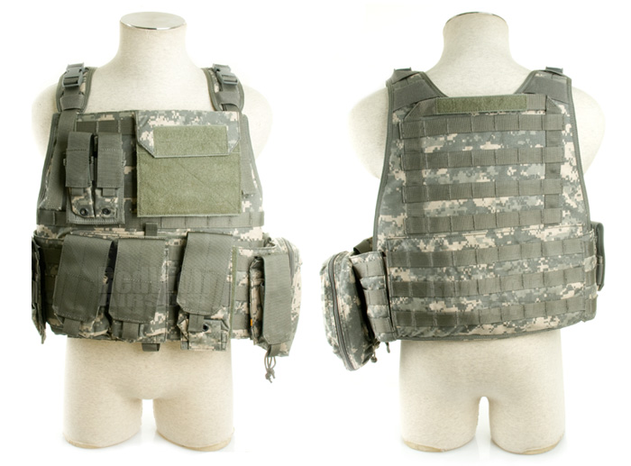 PANTAC Molle Strike Plate Carrier with Pouch Set (Medium / ACU / Cordura) <font color=red> (Holiday Blowout Sale)</font>