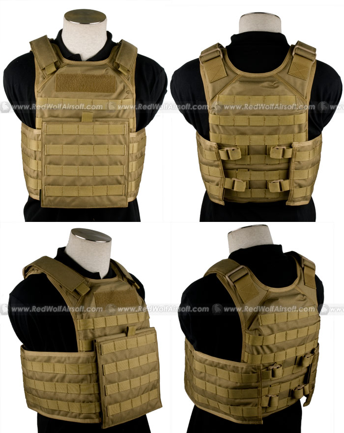 PANTAC Molle Tactical Plate Carrier Full Set (Khaki /  Medium / Cordura)