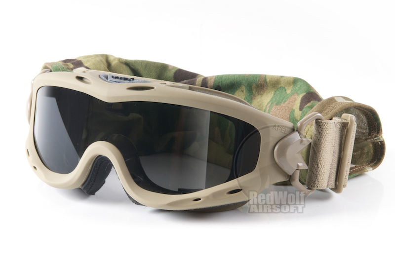 Wiley X Spear Goggle (Grey / Clear Lens) - Tan Frame