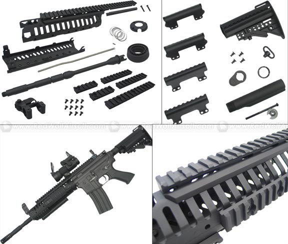 King Arms CASV Handguard Set w. 14.5 Outer Barrel & MOD Stock Set (Black)