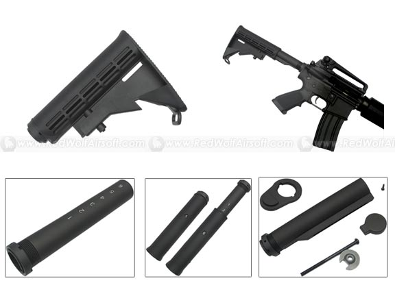 King Arms King Arms 6 Position Stock for M4 Series ( Black / Pipe With Marking )